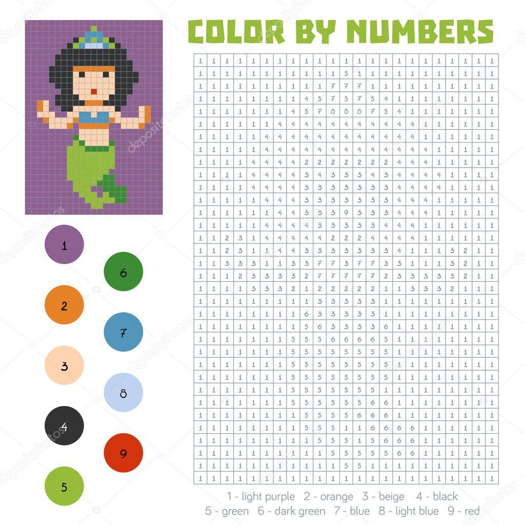 Farbe nach Anzahl, Meerjungfrau — Stockvektor © ksenya_savva #124909222