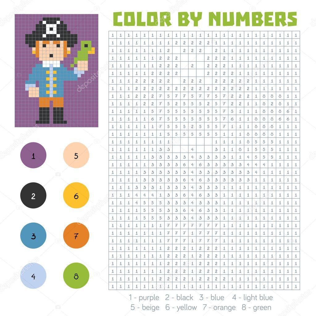 Цвет по номеру, пират — Векторное изображение © ksenya ...