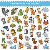 Najděte stejné obrázky pro děti, zvířata ze zoo