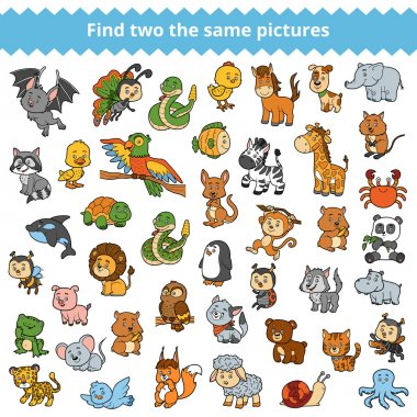 Find the same pictures for children, zoo animals