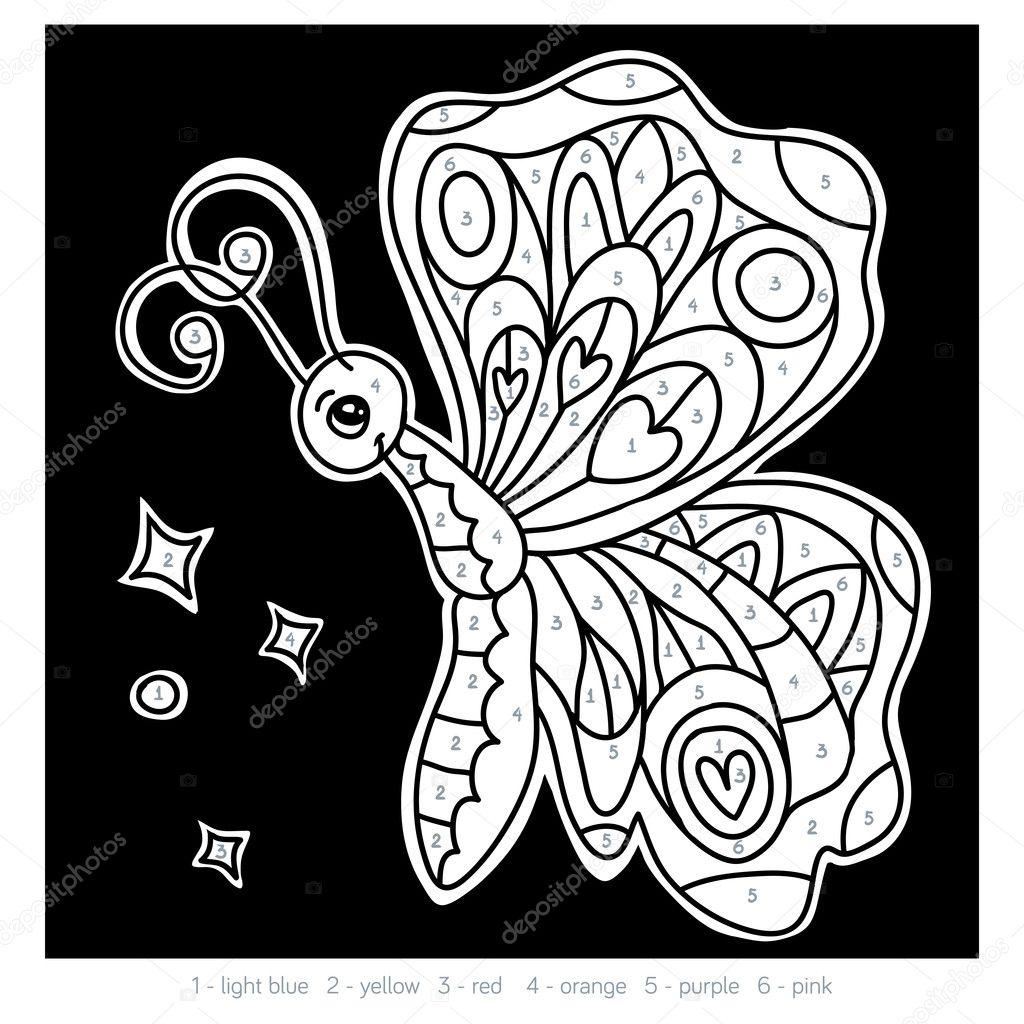 Farbe nach Anzahl für Kinder, Schmetterling — Stockvektor ...