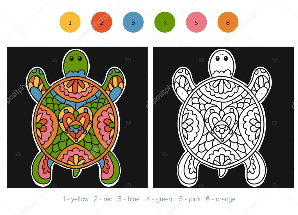 Número de colores, para niños, tortuga — Archivo Imágenes ...
