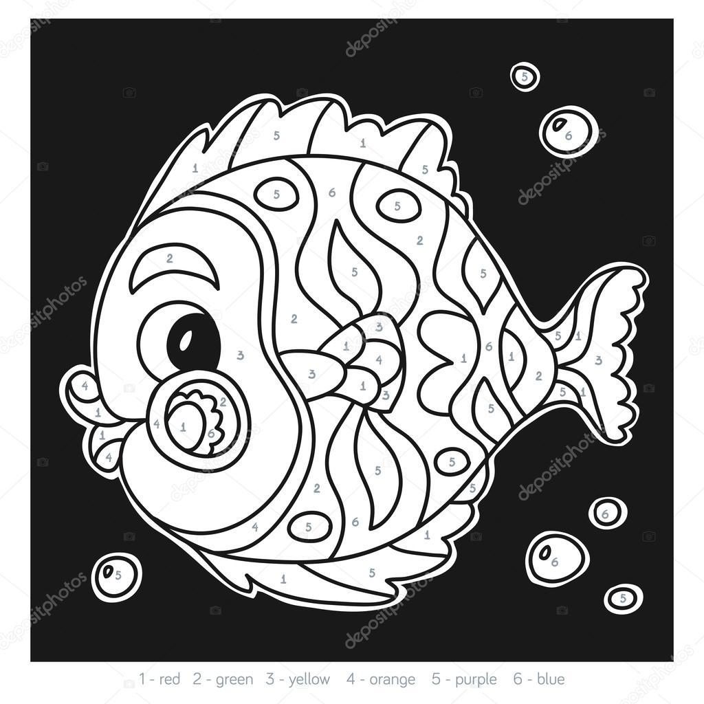 Farbe nach Anzahl für Kinder, Fisch — Stockvektor © ksenya_savva ...