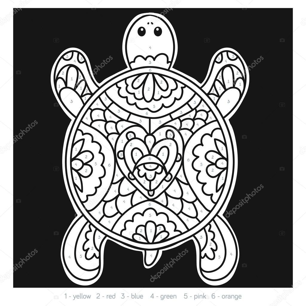 Número de colores para los niños, tortuga — Archivo Imágenes ...