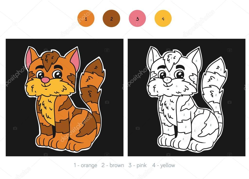Farbe nach Anzahl für Kinder, Katze — Stockvektor © ksenya_savva ...