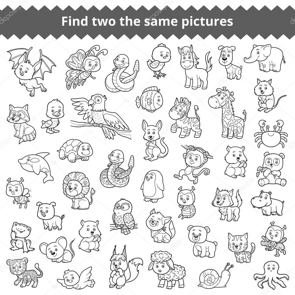 Finde die gleichen Bilder für Kinder, Tiere im zoo — Stockvektor ...