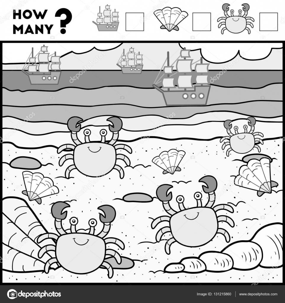 Cuenta de juego para niños en edad preescolar. Cangrejo y playa ...