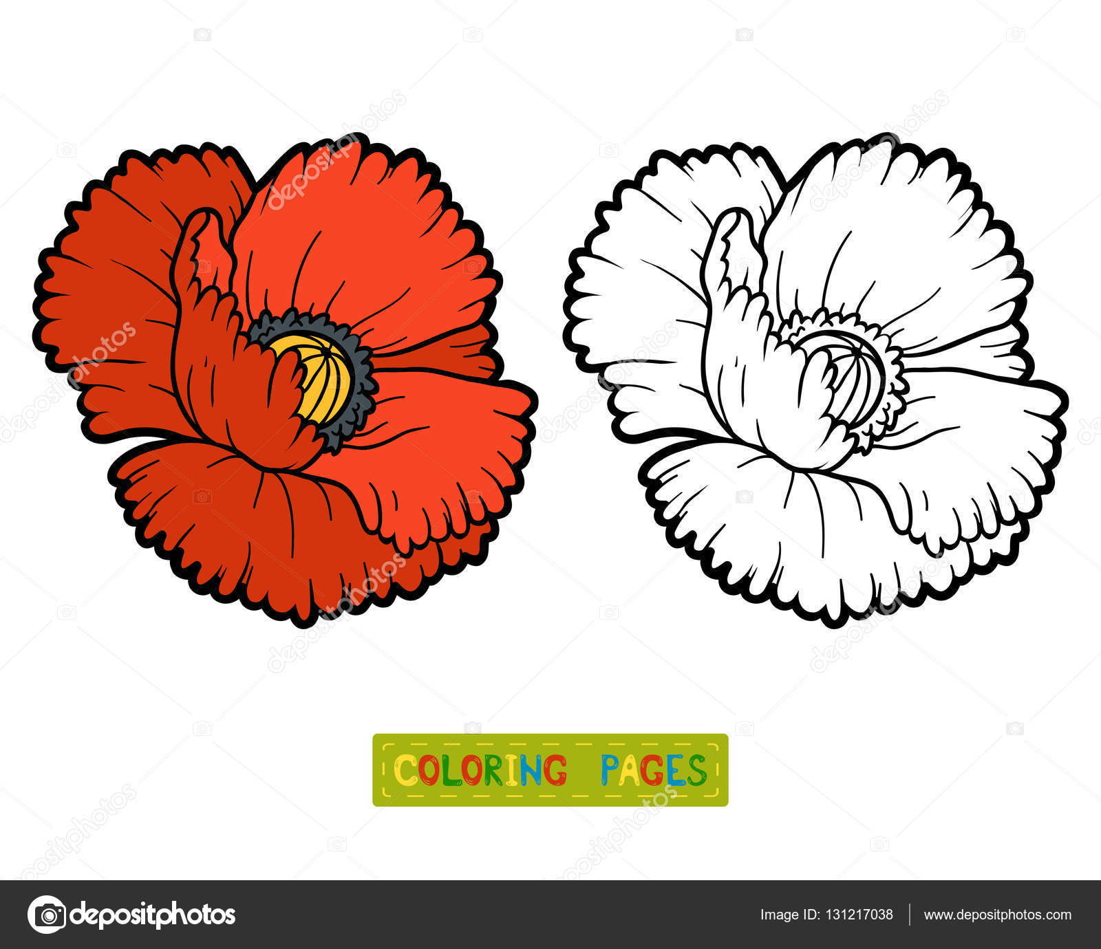 Coloring book, flower Poppy — Stock Vector © ksenya_savva #131217038