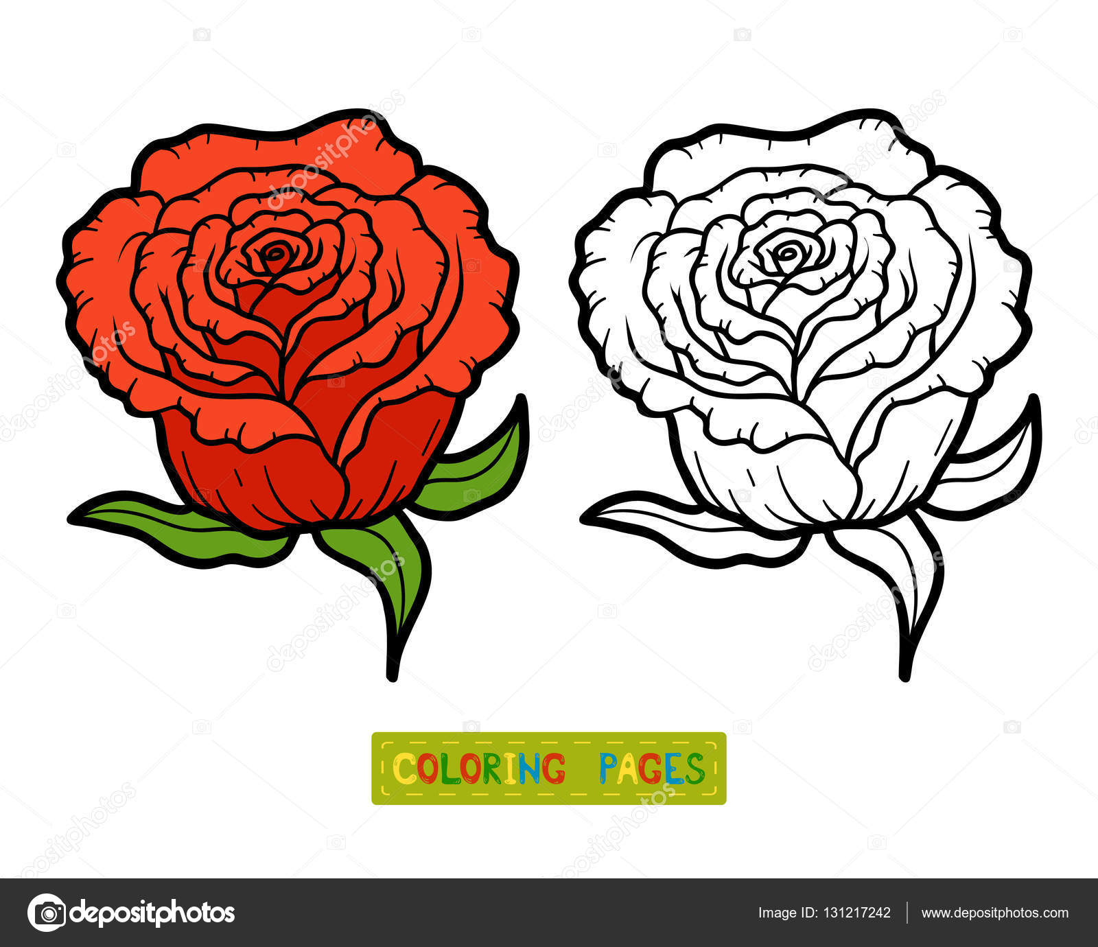 Boyama Kitabı çiçek Gül Stok Vektör Ksenyasavva 131217242