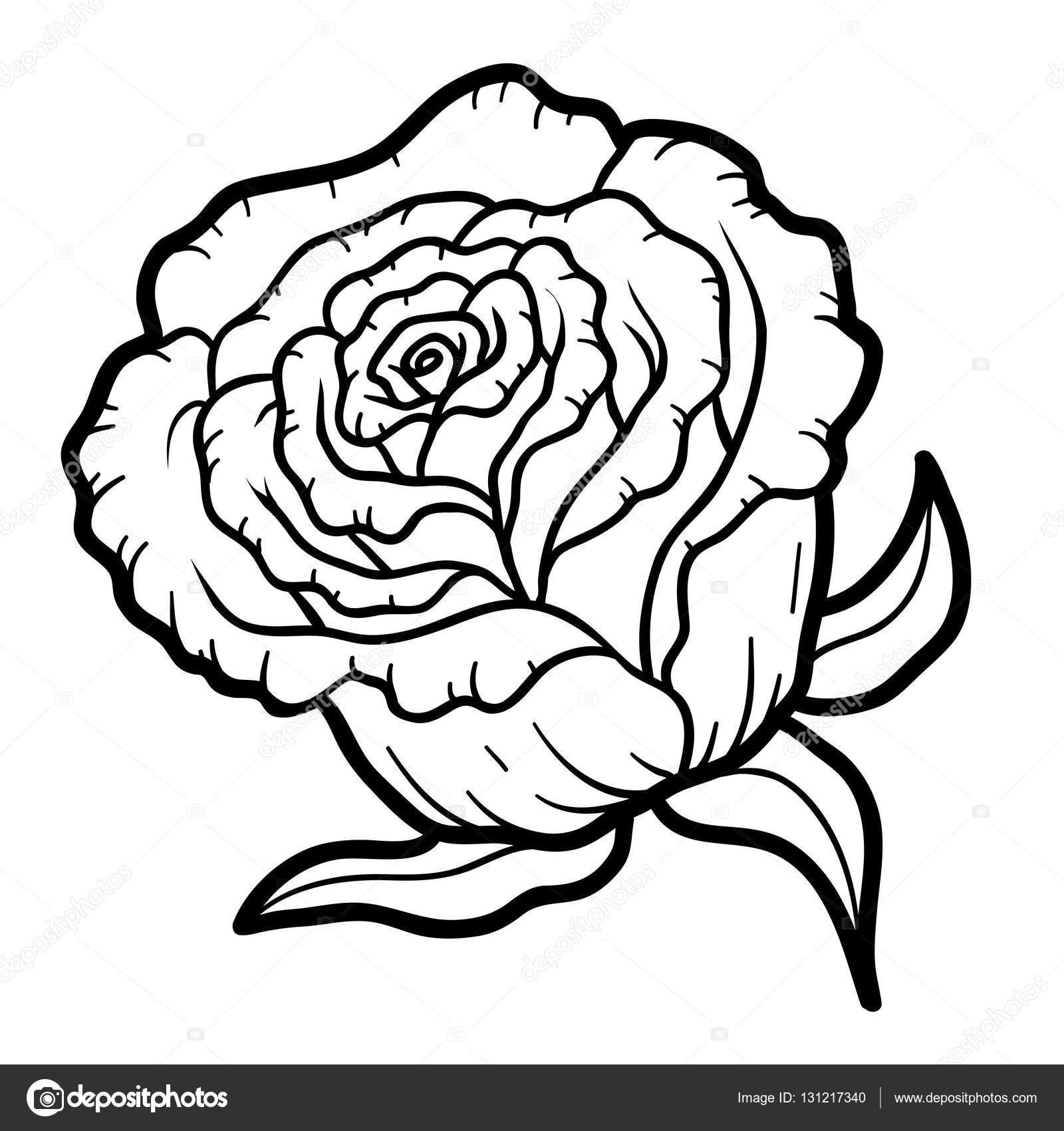 Boyama Kitabı çiçek Gül Stok Vektör Ksenyasavva 131217340