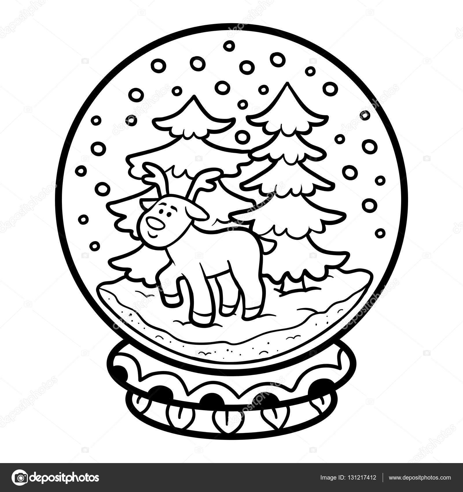Libro para colorear para niños, bola de nieve con ciervos — Archivo ...