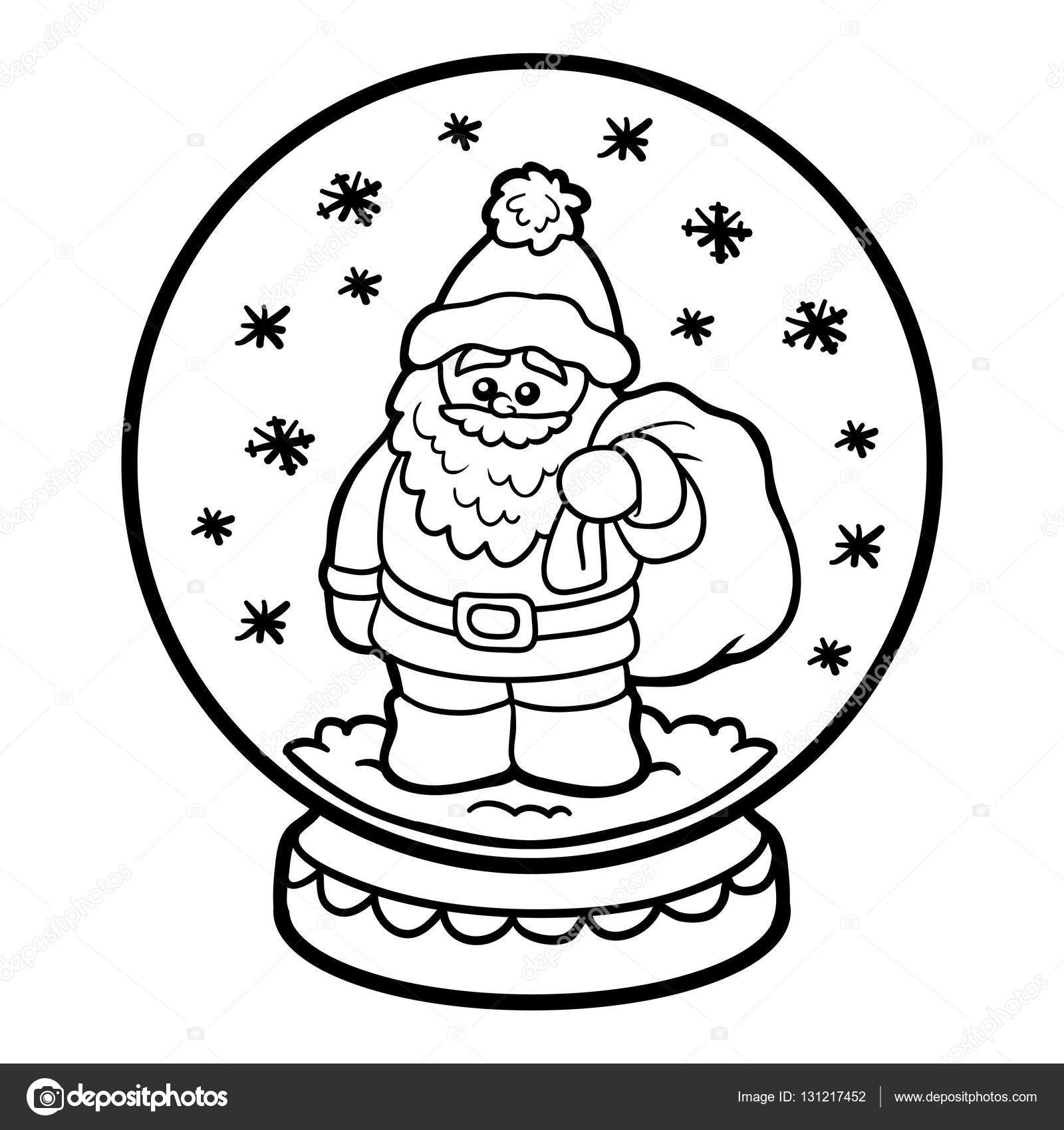 çocuklar Için Boyama Kitabı Kartopu Noel Baba Ile Stok Vektör