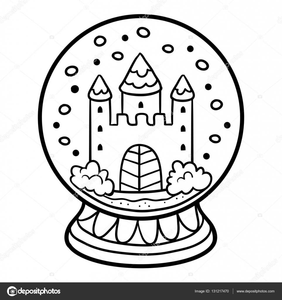 Libro para colorear para niños, bola de nieve con Castillo — Vector ...