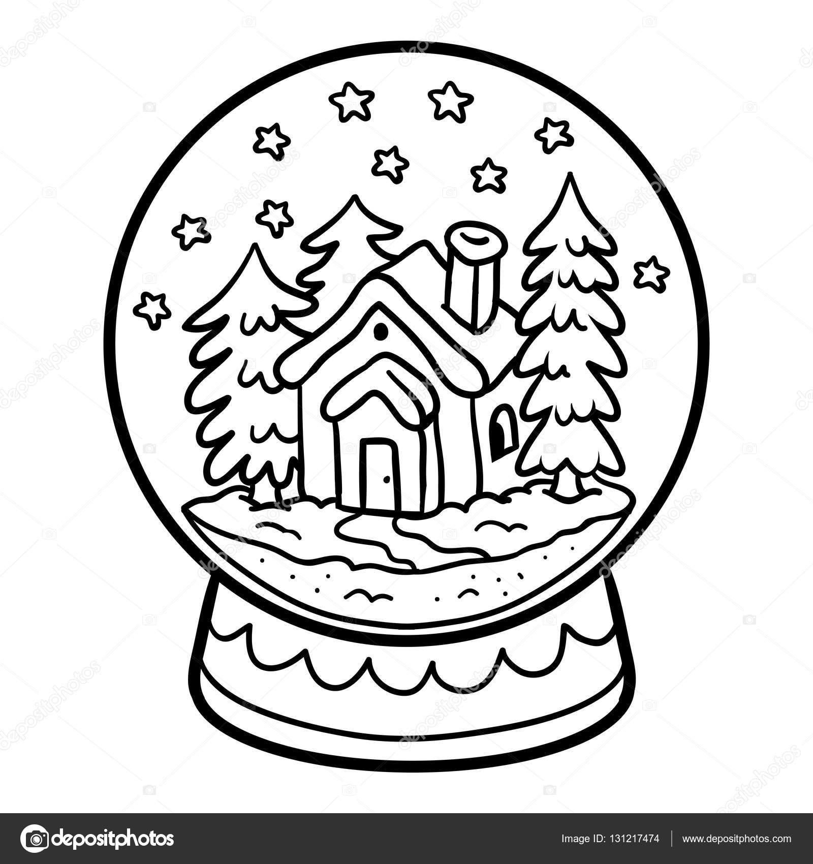 Libro para colorear para niños, bola de nieve con casa — Archivo ...