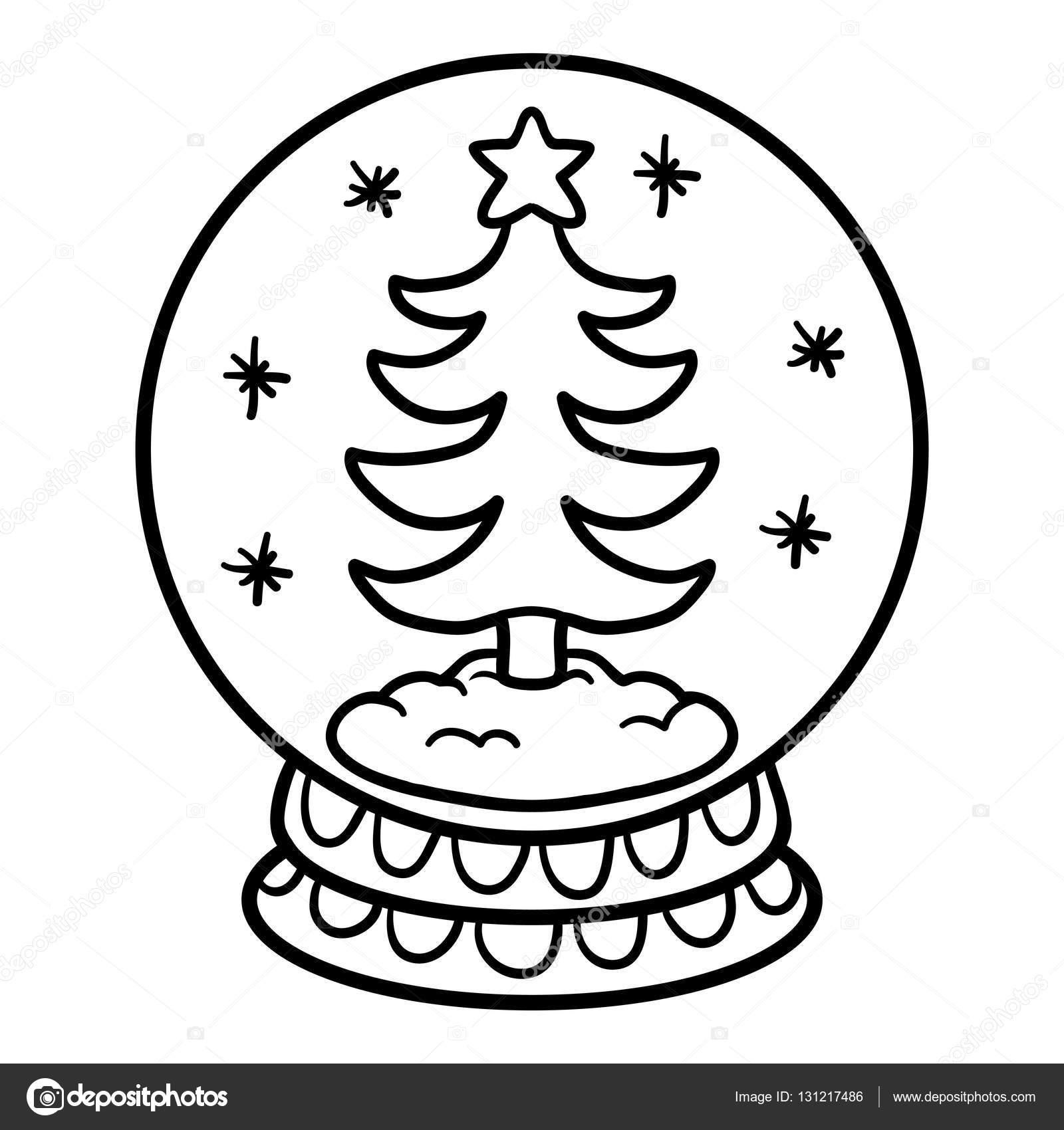 Kleurplaat Boek Voor Kinderen Snowball Met Kerstboom Stockvector