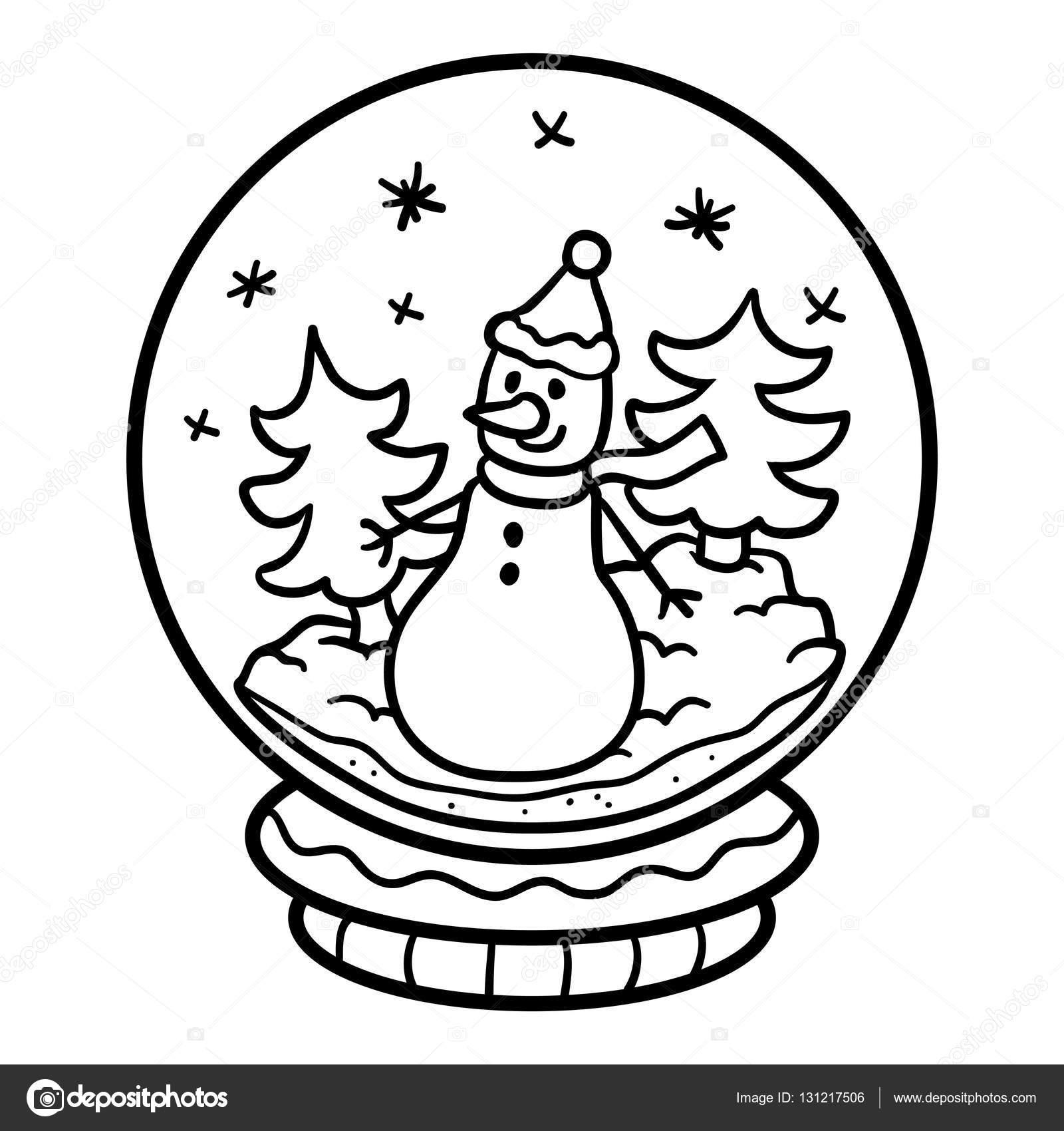 Libro para colorear para niños, bola de nieve con muñeco de nieve ...
