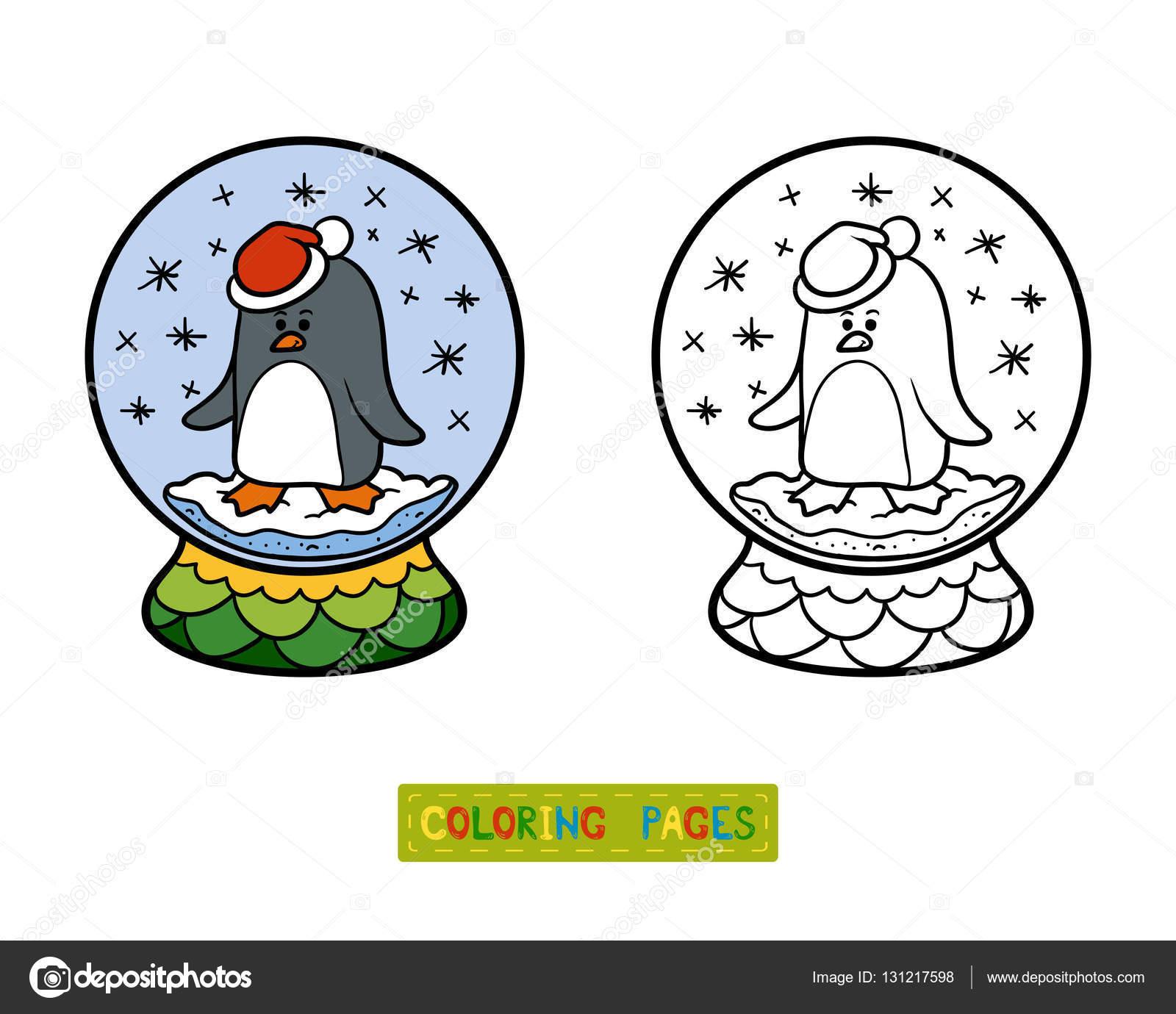 Malbuch für Kinder, mit Pinguin Schneeball — Stockvektor ...