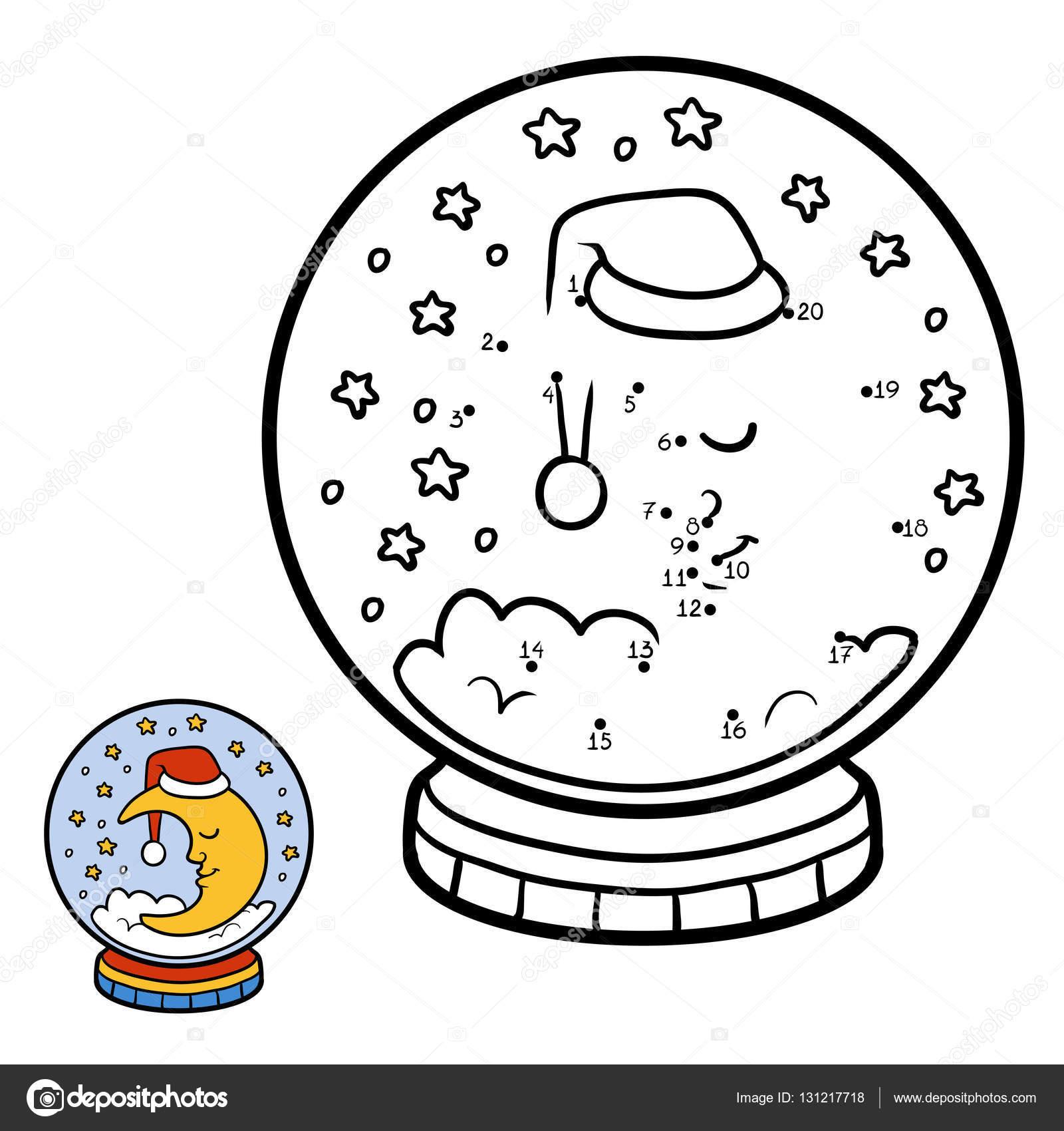 Zahlen Spiel für Kinder, Schneeball mit Mond — Stockvektor ...