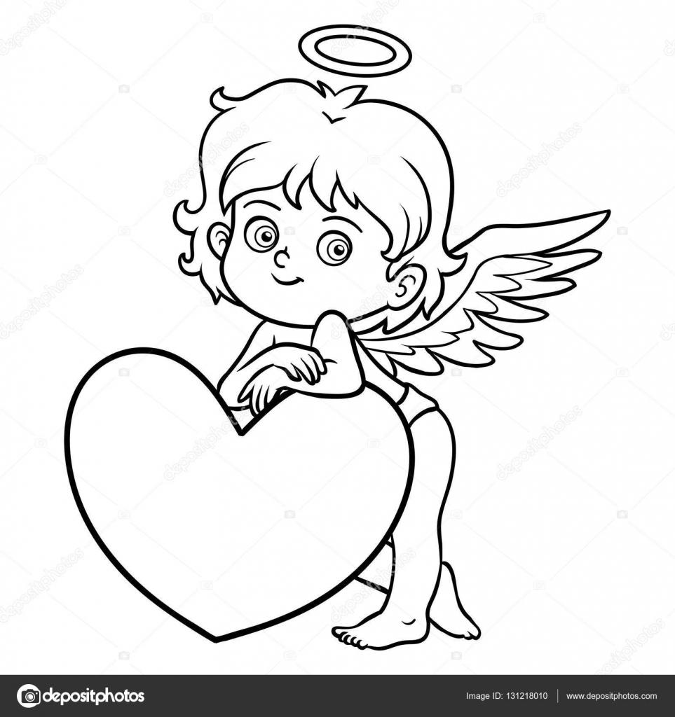 Libro para colorear, personaje de día de San Valentín, Ángel ...