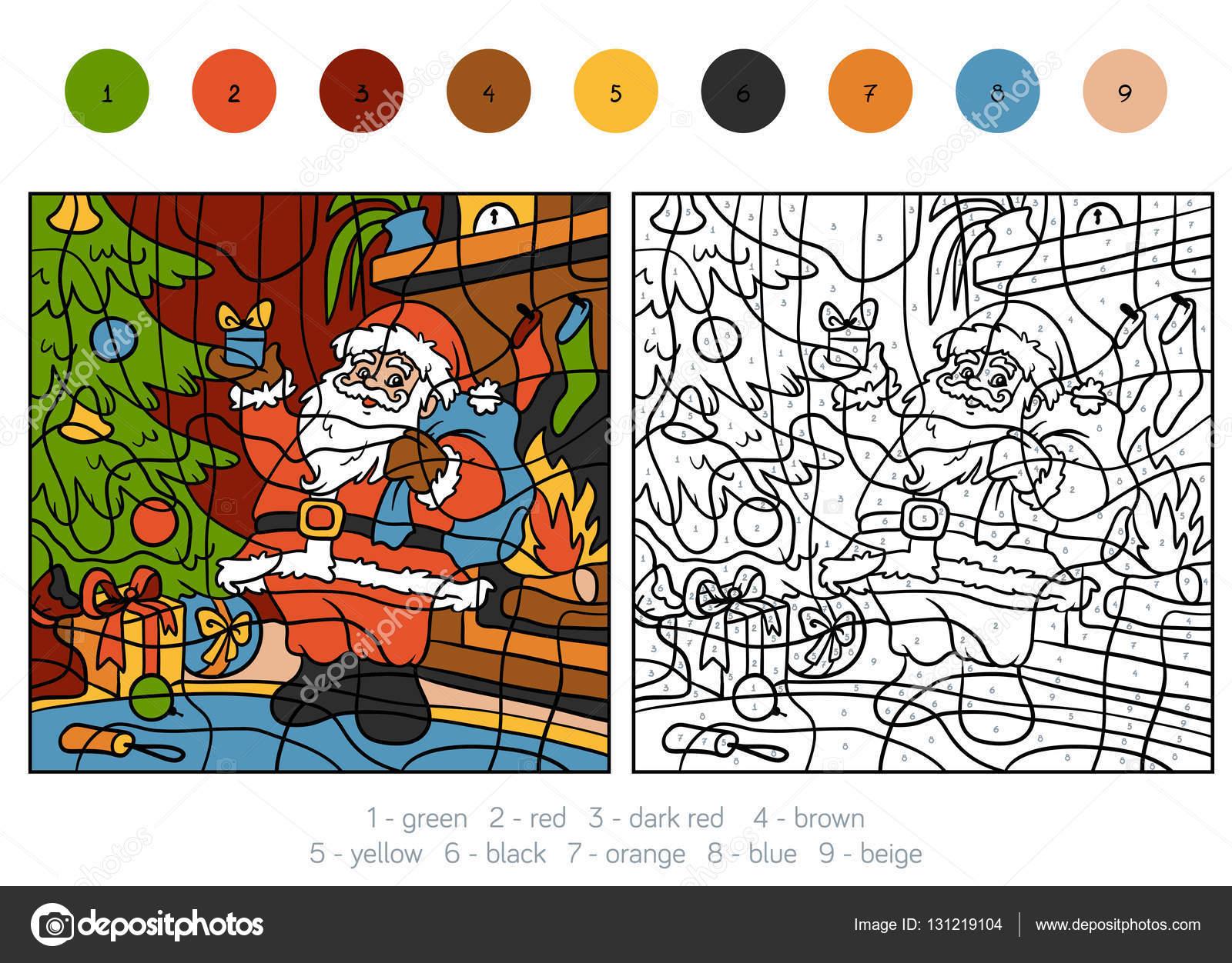 Colorear por números, Santa Claus y regalos — Vector de stock ...