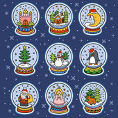Photo Vector color set of snowballs, Christmas stickers