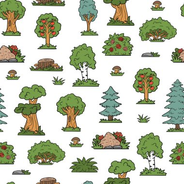 Vector colorful seamless pattern, trees and bushes