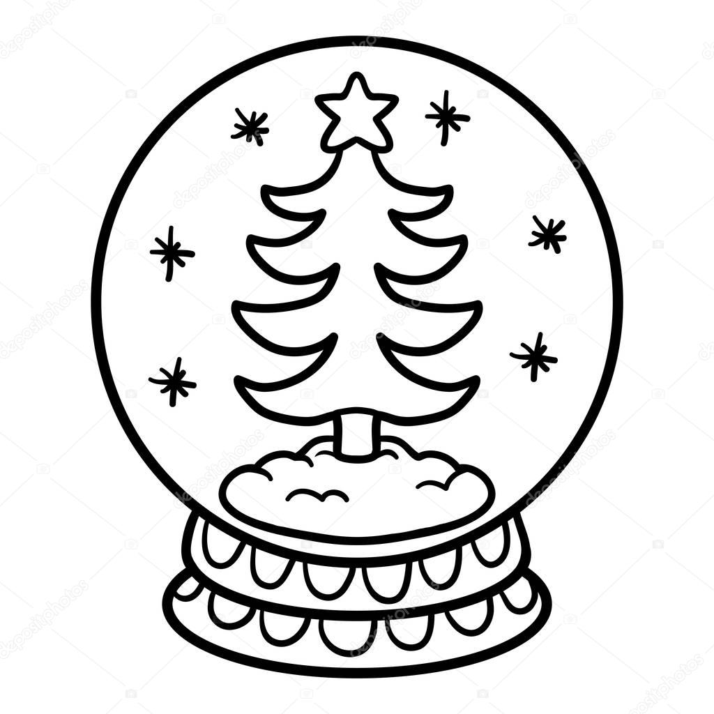 kleurplaat boek voor kinderen snowball met kerstboom