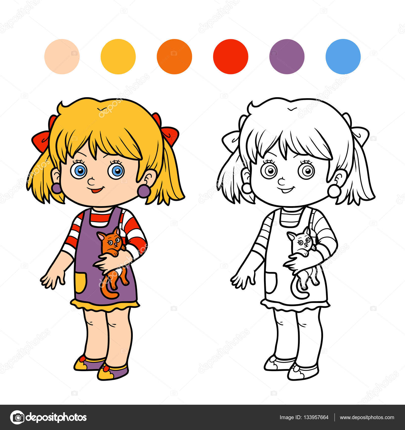 Coloriage Fille Avec Chat.Livre De Coloriage Fille Avec Un Chat Image Vectorielle