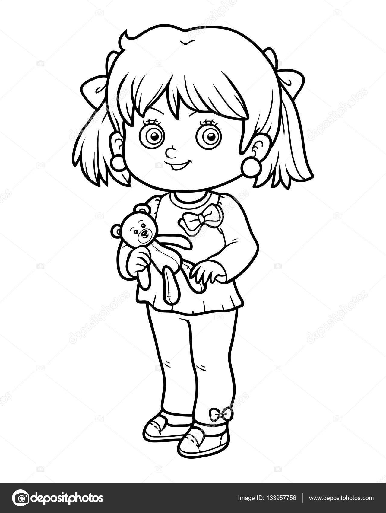 Malbuch, Mädchen mit Teddybär — Stockvektor © ksenya_savva #133957756