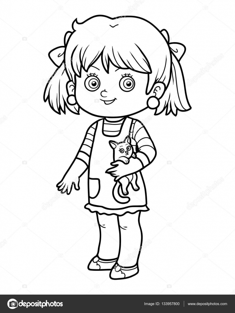 Boyama Kitabı Bir Kedinin Kızla Stok Vektör Ksenyasavva 133957800