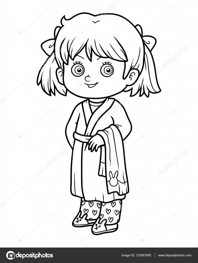 Livre de coloriage jeune fille dans un peignoir image - Dessin de jeune fille ...