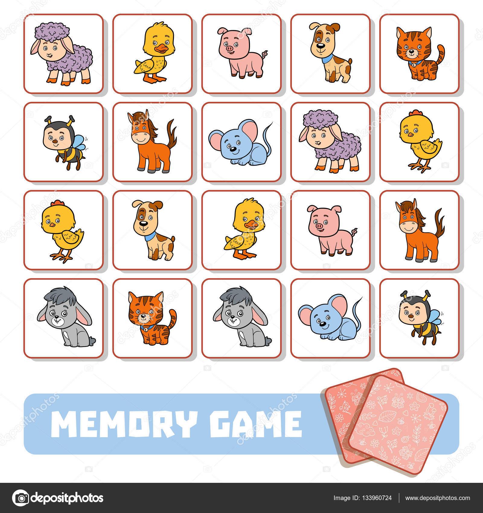 Memoria de juego para ni os tarjetas con animales de for Memory da stampare