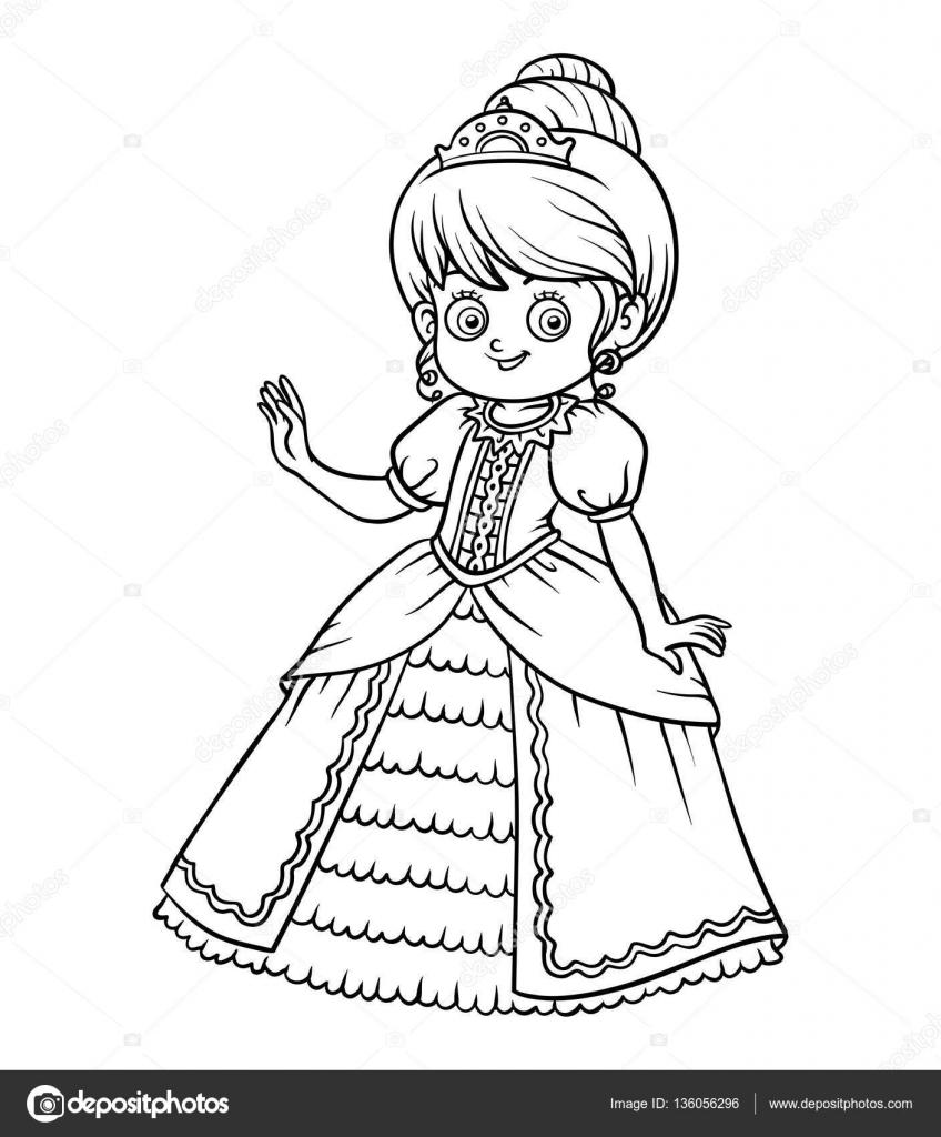 Libro para colorear, personaje de dibujos animados, princesa ...