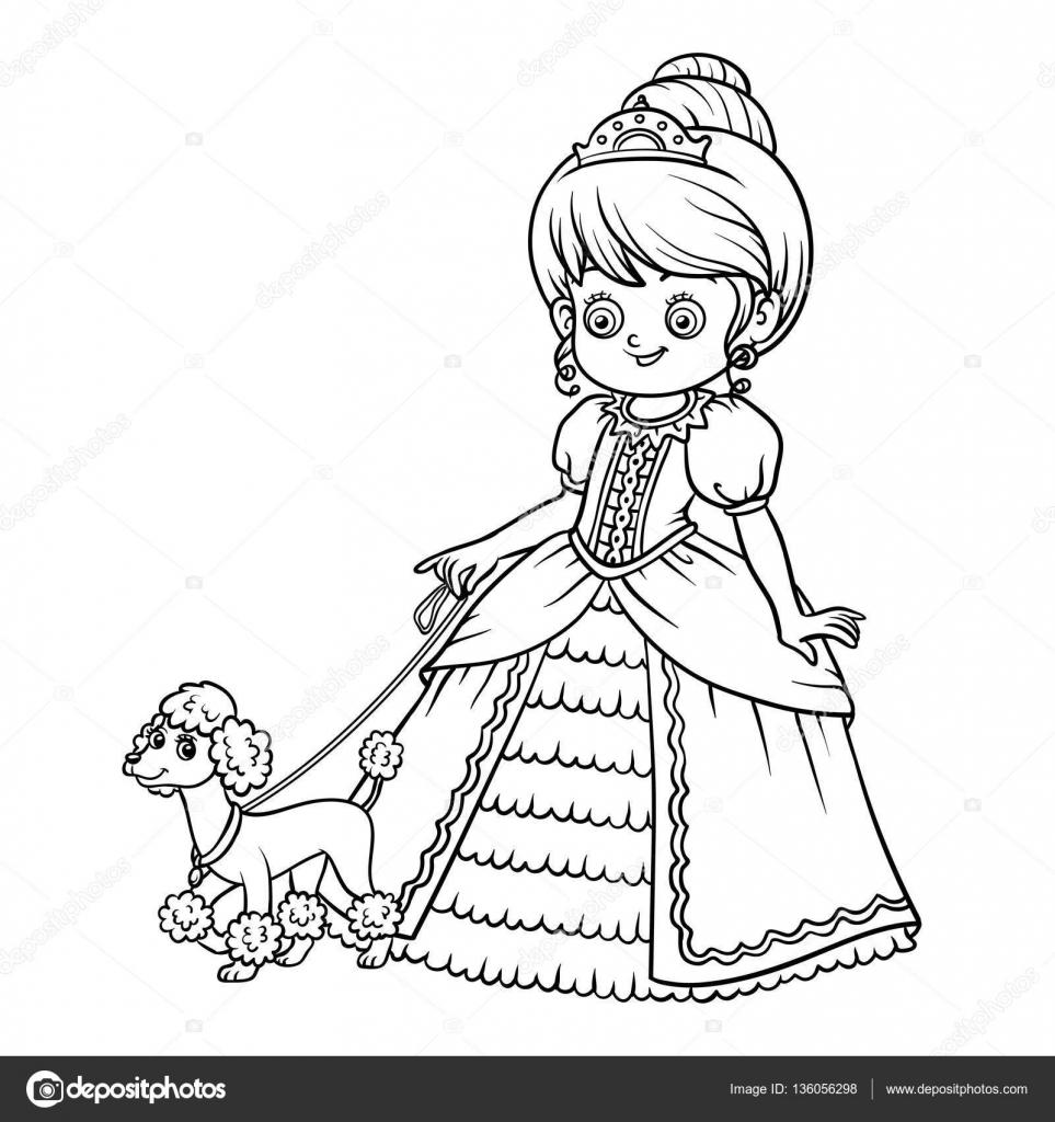 Boyama çizgi Film Karakteri Fino Köpeği Ile Prenses Stok Vektör