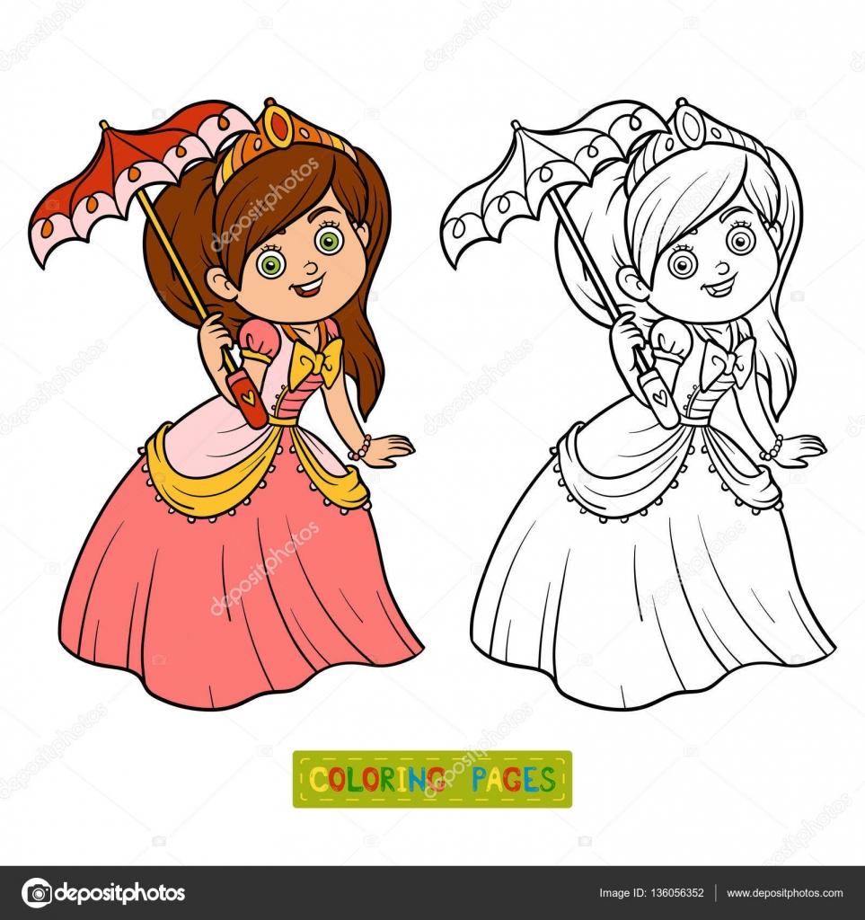 Libro para colorear, princesa con paraguas — Archivo Imágenes ...