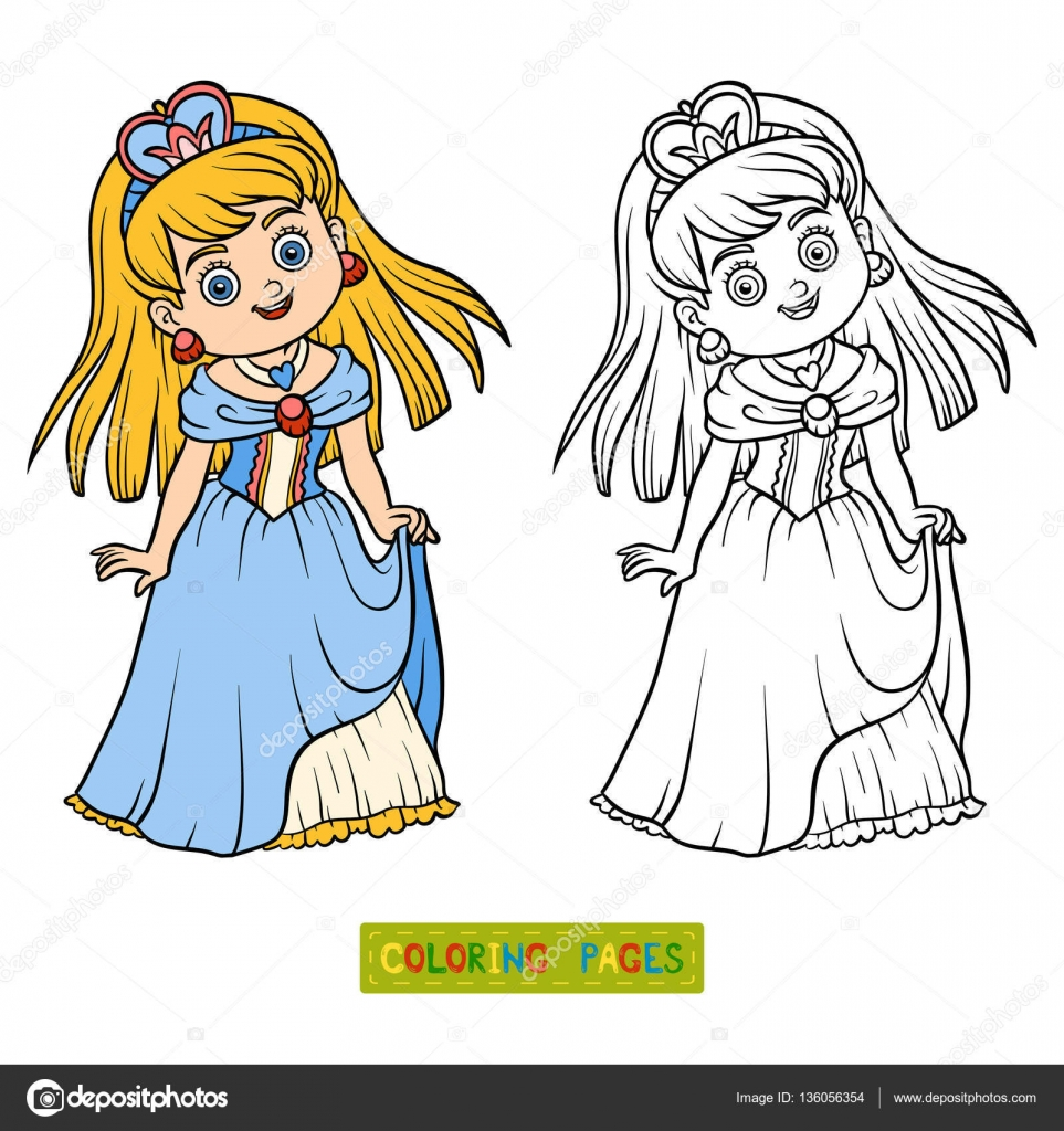 Libro Para Colorear Personaje De Dibujos Animados Princesa