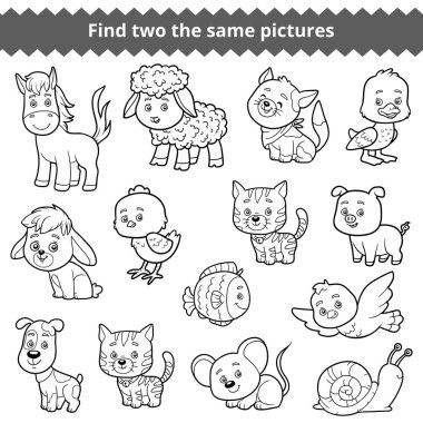 Find two the same pictures, vector set of farm animals