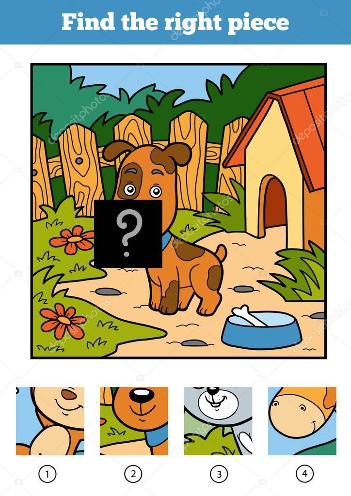 Найти правильный кусок, игра для детей. Собака — Векторное ...