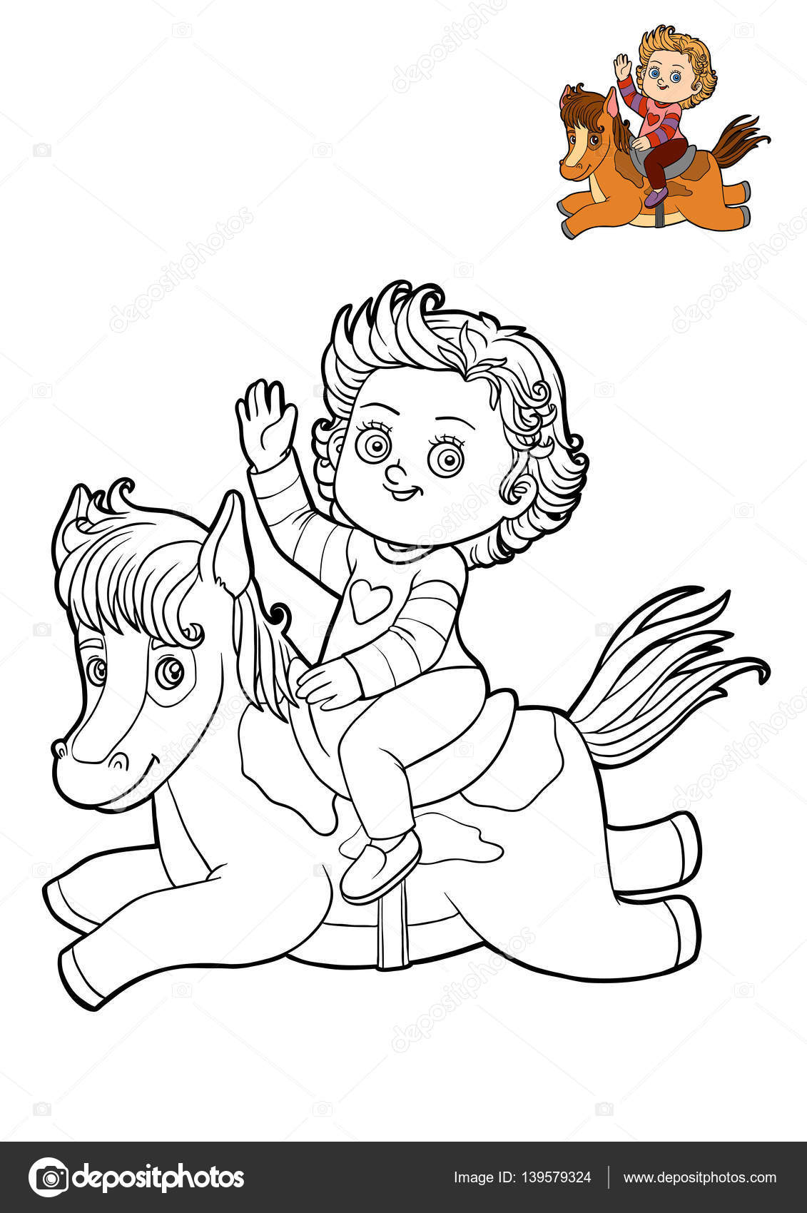 çocuk Kız Ve Ati Boyama Kitabı Stok Foto Ksenyasavva 139579324