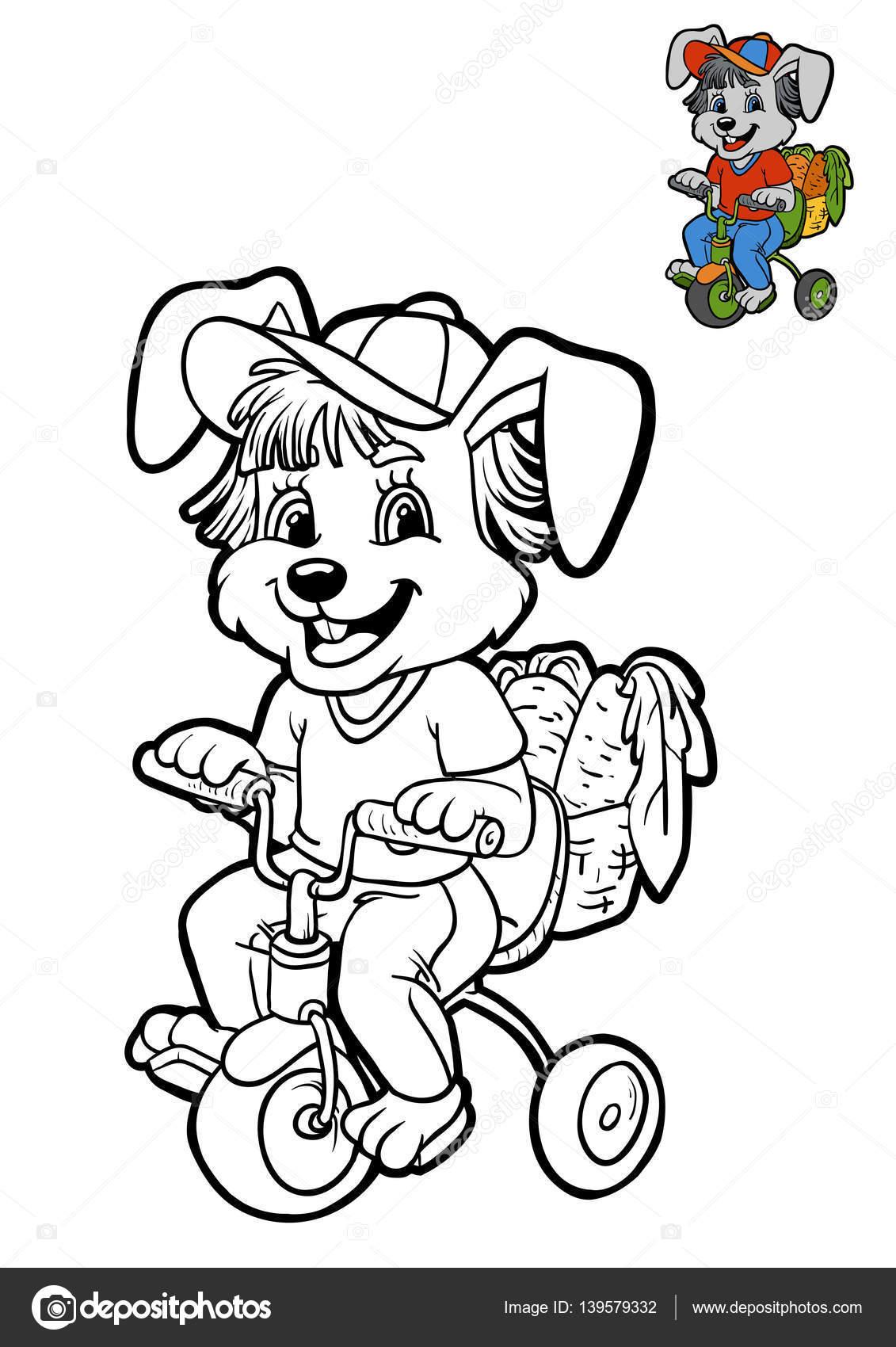 Libro para colorear para niños, conejo en bicicleta — Foto de stock ...