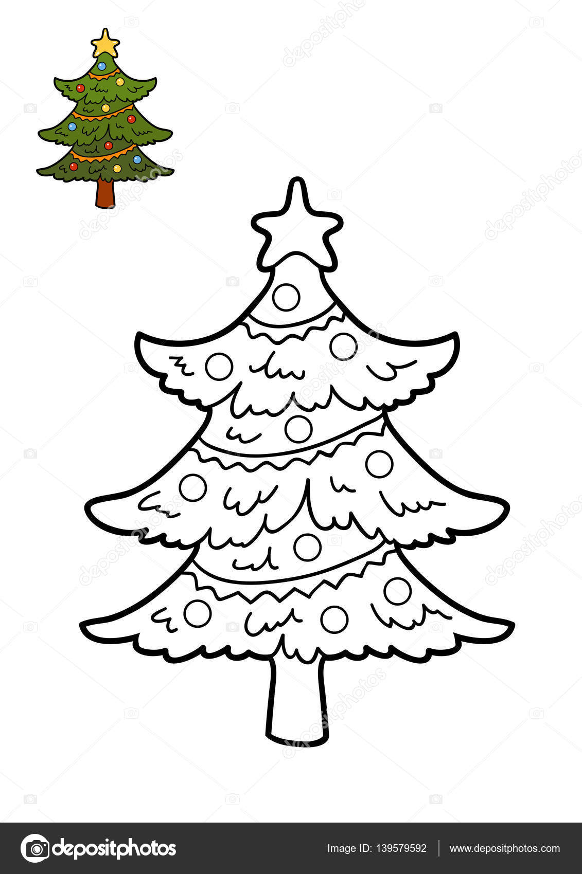 Coloring book, Christmas tree — Stock Photo © ksenya_savva #139579592