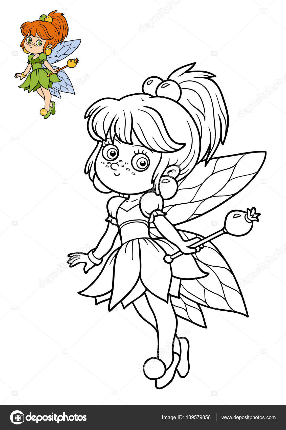 妖精の女の子塗り絵 ストック写真 Ksenyasavva 139579856