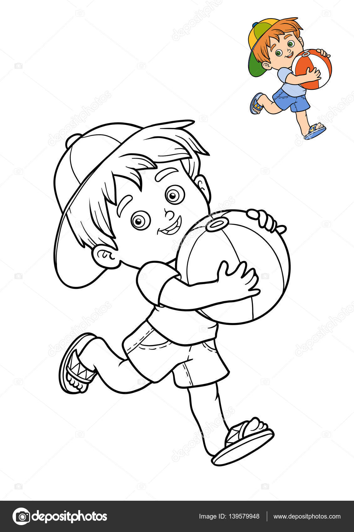 Libro para colorear, el niño y la bola — Fotos de Stock ...