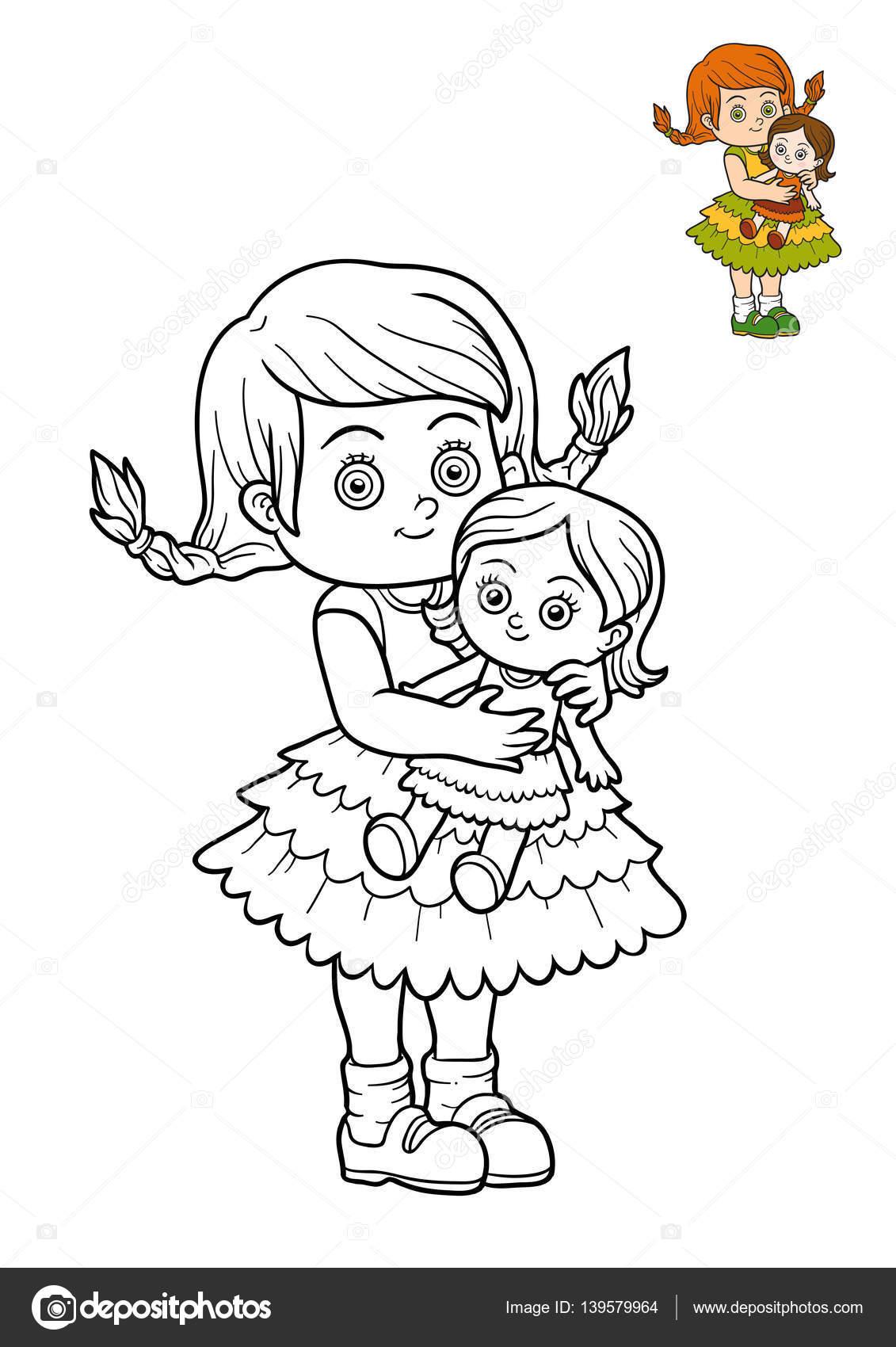 Boyama Kitabı Kız Ve Bebek Stok Foto Ksenyasavva 139579964