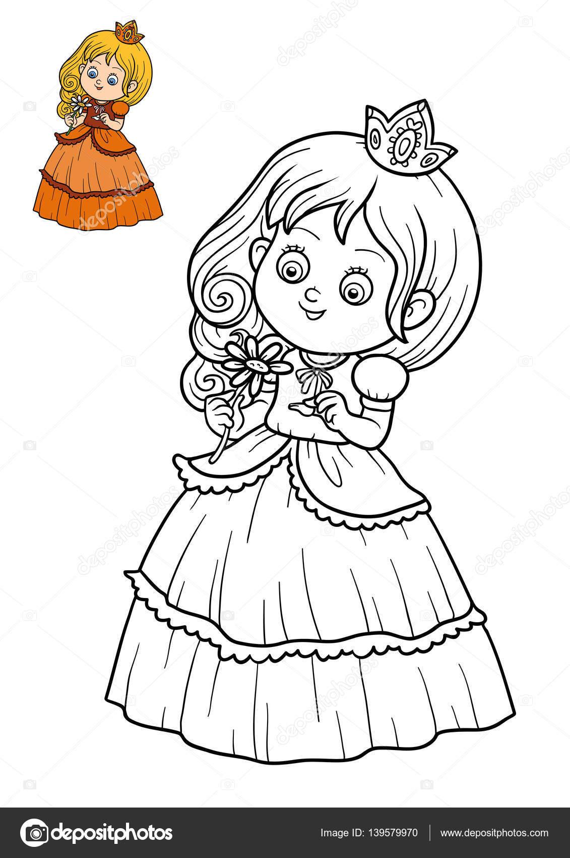 фото раскраска книжка раскраска принцесса и цветок