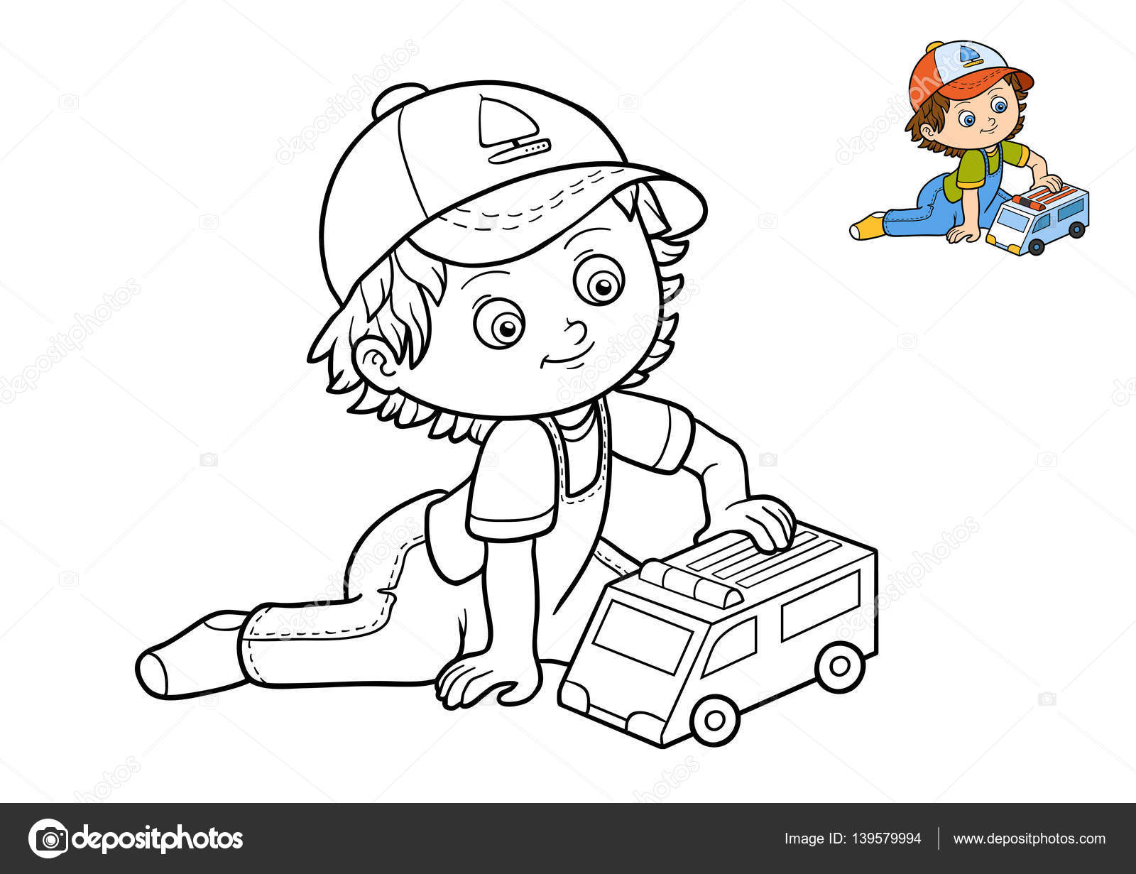 Kitap çocuk Ve Ambulans Araba Boyama Stok Foto Ksenyasavva