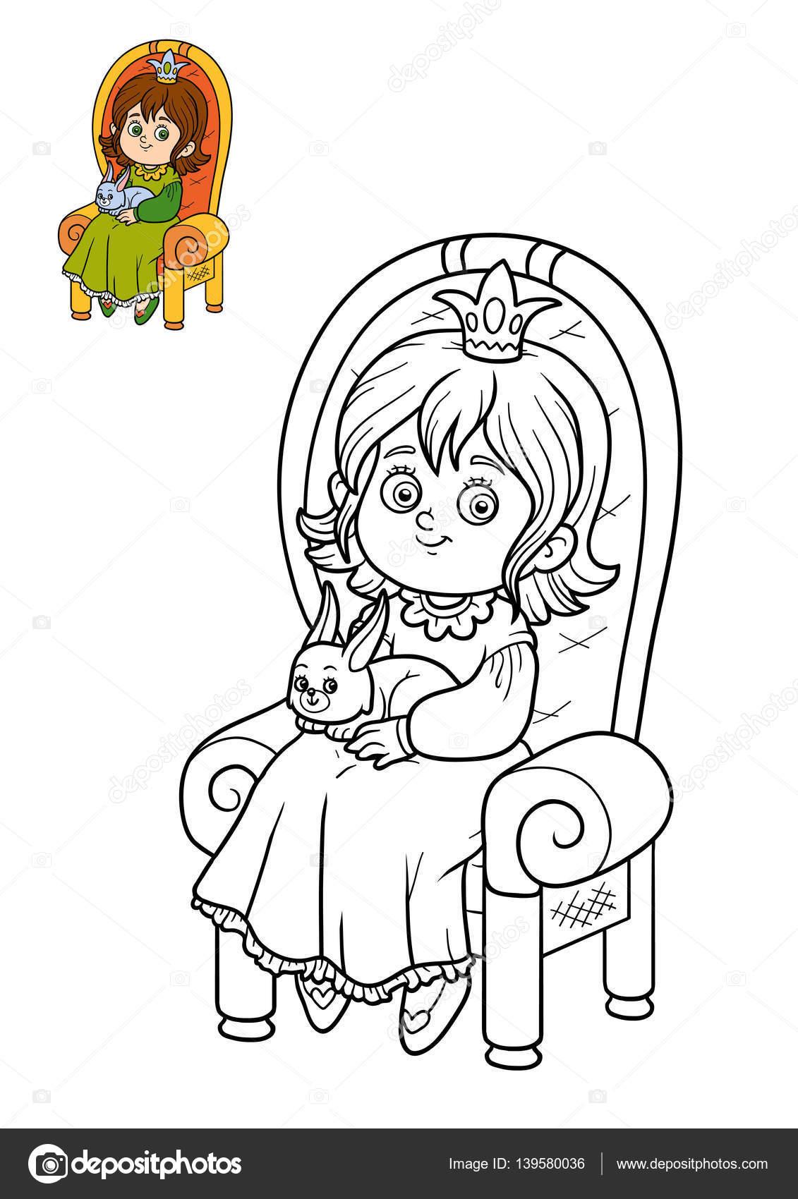 Libro para colorear, princesa y conejo en el trono — Foto de stock ...