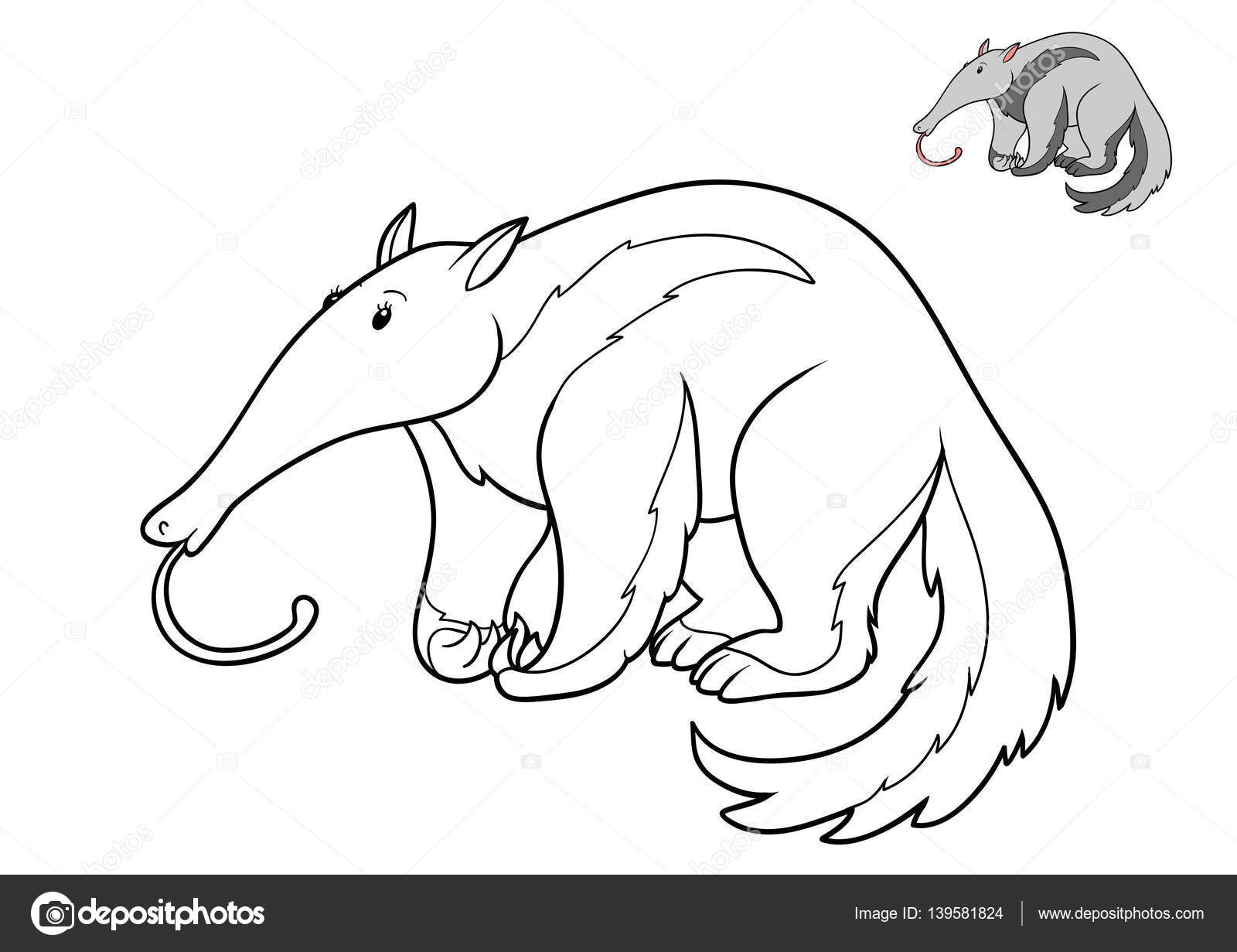 Libro para colorear, oso hormiguero — Fotos de Stock © ksenya_savva ...