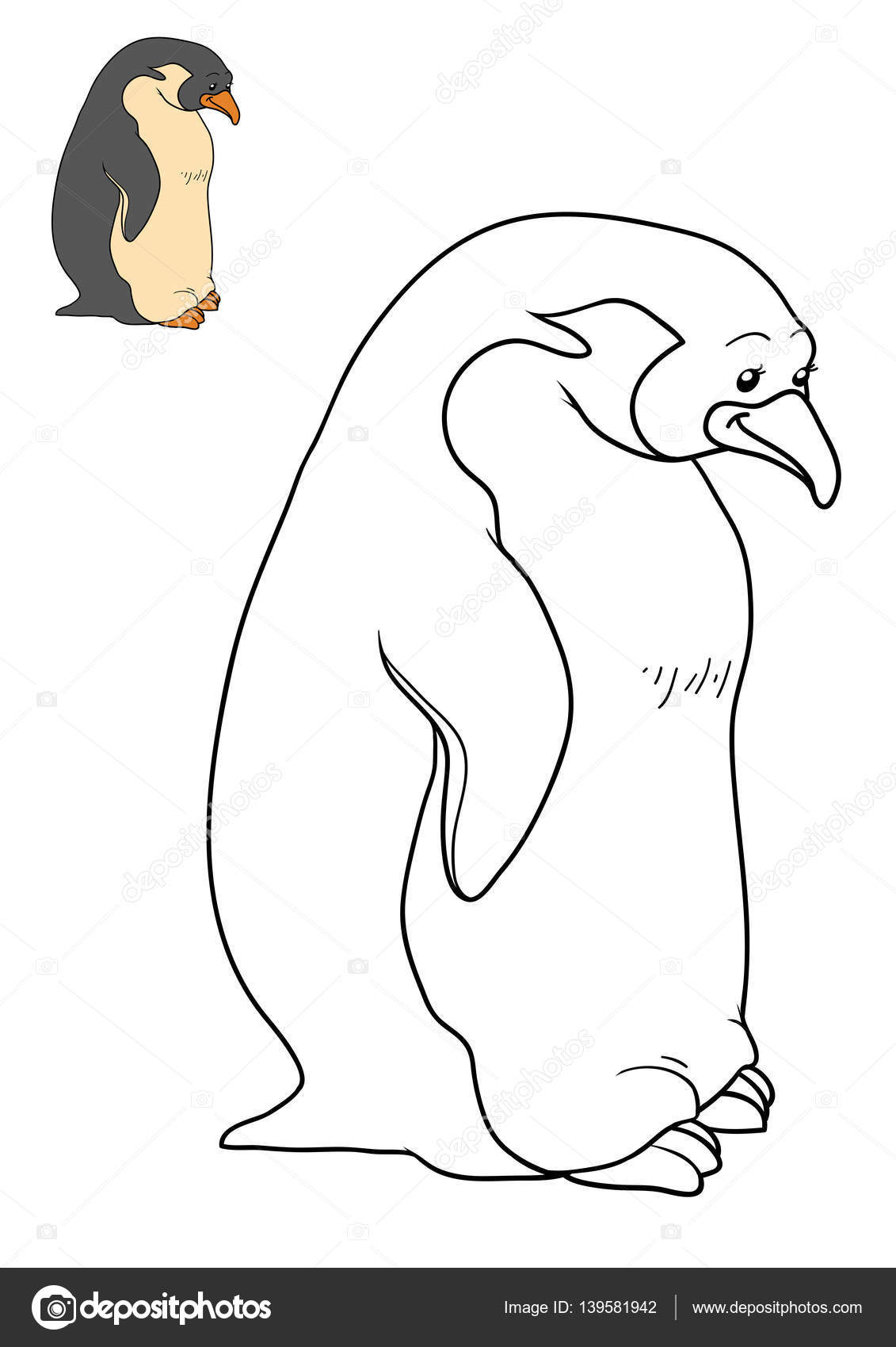 Libro para colorear, pingüino — Foto de stock © ksenya_savva #139581942