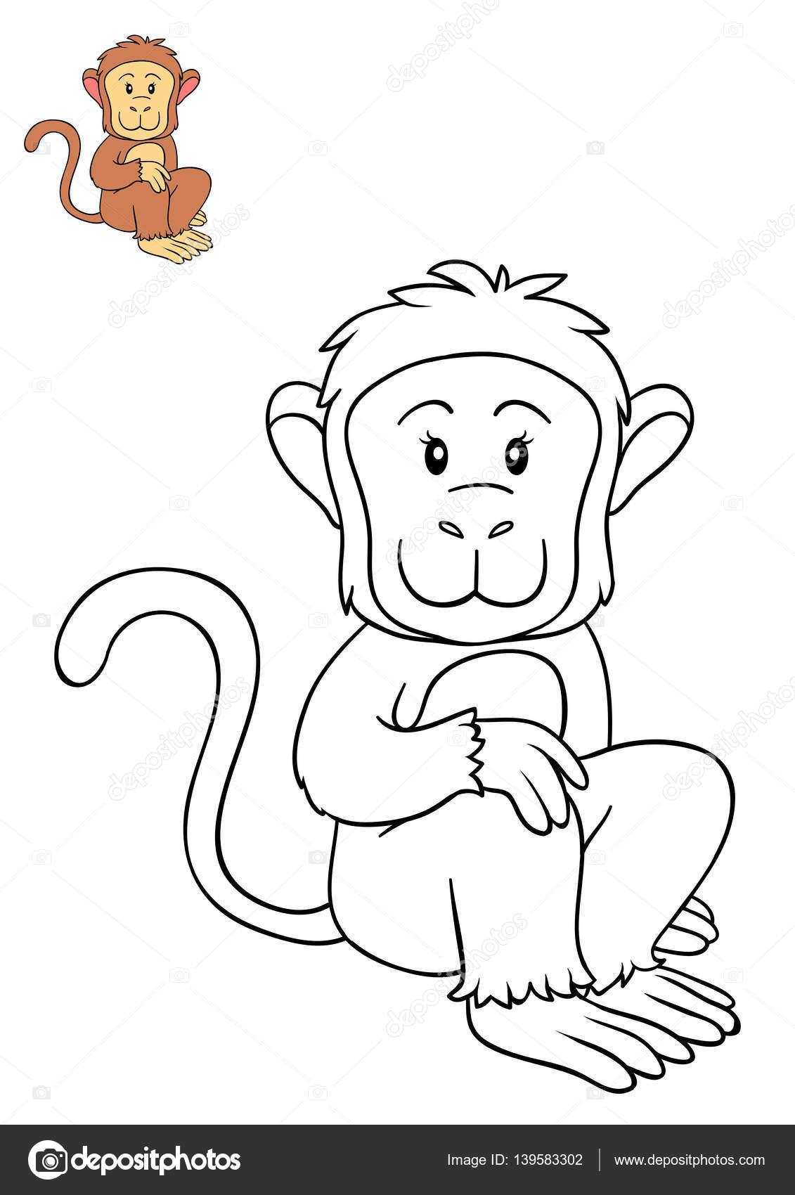 Libro para colorear, mono — Fotos de Stock © ksenya_savva #139583302